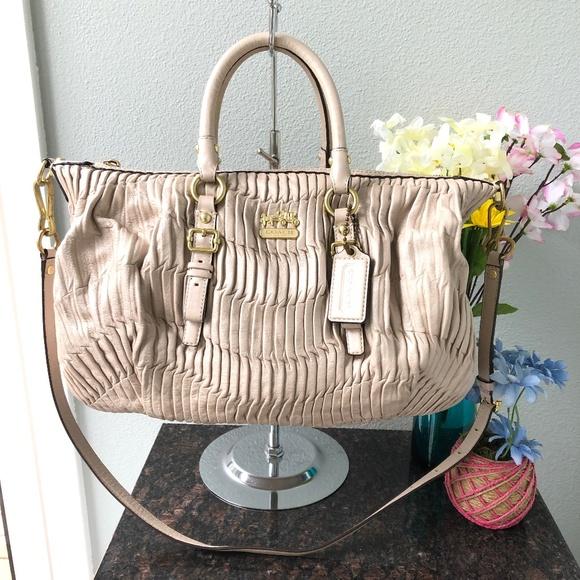 Coach Handbags - Coach Madison Gathered Leather Satchel Bag
